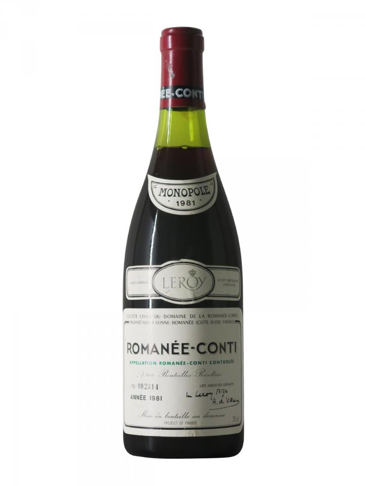 ロマネコンティ グラン・クリュ ドメーヌ・ドゥラ・ロマネコンティ 1981 ボトル(75cl)